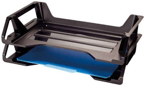 Officemate Side Loading Stackable Desk (Officemate OIC Achieva Side Load Letter Tray, Set of 2, Recycled, Black (26210))