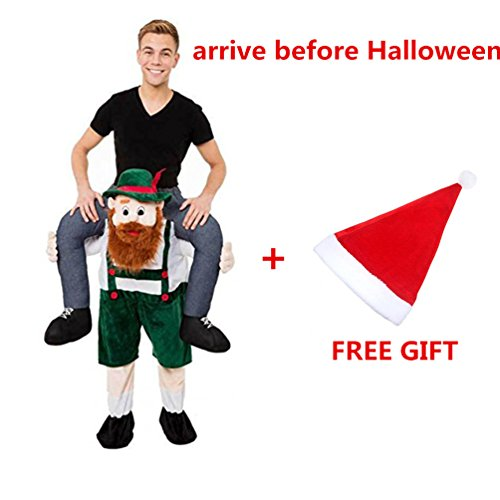 Piggyback Costume Christmas (Halloween Piggyback Ride On Riding Shoulder Cosplay Beer Guy Christmas Costumes (Green Beard Guy))