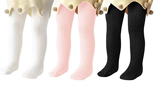 Century Star Baby Tights For Girls Soft Cotton Infant Leggings Toddler Solid Knit Socks Warm Stockings Newborn Pants White Black Pink 2-5 Year (Cold Weather Socks For Girls)