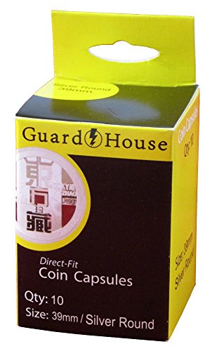 Guardhouse Box of 10 Direct Fit 39mm Coin Holders Silver & Copper Rounds ()
