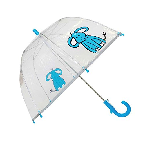 (SMATI Kids'Umbrella Dome Transparent - The First Umbrella has Reflective Stripe - Extra safty to Children in The Darkness (Blue Elephant))