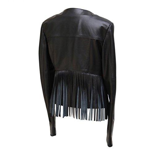 Chaqueta de cuero - JURATA Chaqueta De Mujer negro Napa De Cordero Cuero Auténtico Negro