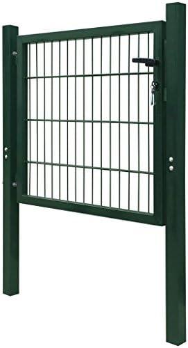 Tidyard Puerta de vallado Puerta Valla Jardin de Acero Verde 106x150 cm,Acero Verja Mallada Puerta Barrera Exterior Cercas para Jardín: Amazon.es: Hogar
