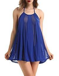 NORA TWIPS Women Sexy Halter Semi-Sheer Lingerie Mesh Teddy Nightwear by (S-2XL)