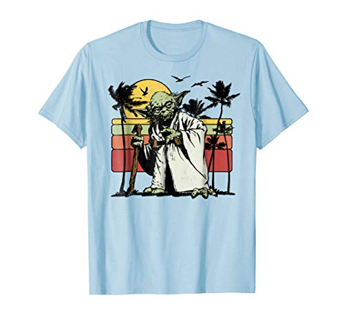 Star Wars Yoda Retro Striped Vintage Sunset Beach T-Shirt ()