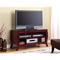 Kings Brand E1040 Wood TV Stand Console with Shelves, Cherry Finish