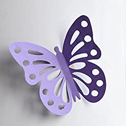 Transer 20Pcs 3D Hollow Butterfly Wall Decal Sticker Bedroom Living Room Fridge Window Decoration (Large, J)