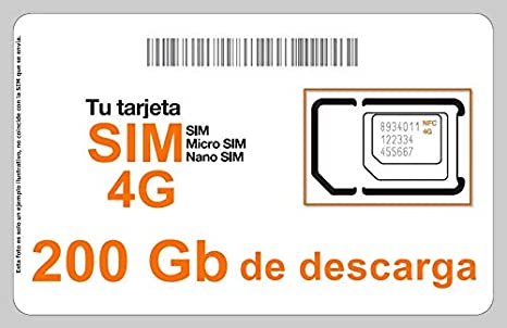 Tarjeta SIM Internet 4G/3G, Incluye 200 GB de Descarga, 1 ...