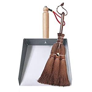OAKART Mini Dustpan and Brush Set Stainless Steel Handmade Natural Bristles Broom