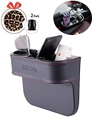 IOKSCTER Multifunctional Car Seat Organizer with PU Leather,Front Between Seat Gap Filler,Cup Holder Drop Stop for Backseat Catcher Organizers Storage Back Trunk SUV Interior Accessories of Vehicle