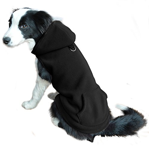 [Fleece Dog Hoodies with Pocket, Cold Weather Spring Vest Sweatshirt with O-Ring, Black XS] (Shark Dog Outfit)