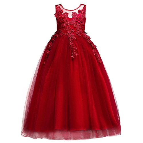 Lace Flower Girls Bridesmaid Wedding Party Birthday Princess Pageant Formal Tulle Long Dress Ball Gown Baby Kids 5-14T Red 6-7 Years