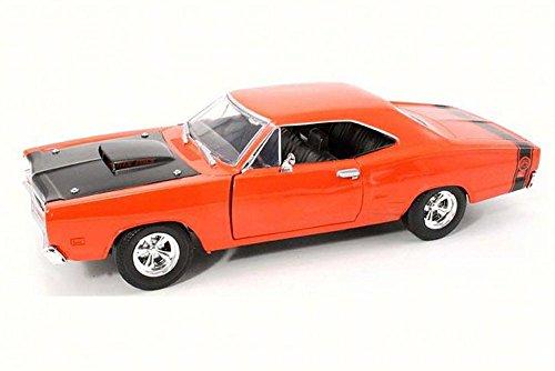 1969 Dodge Coronet Super Bee, Orange w/ Black Hood - Motor Max 73315AC - 1/24 Scale Diecast Model Toy Car