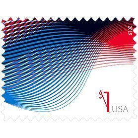 Sheet of ten $1 Patriotic Wave Stamps by USPS, 2015 New Release