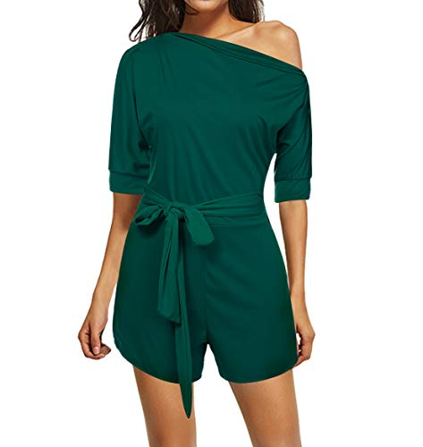 680686bd284 Vilover Women s Sexy One Shoulder Rompers Solid Jumpsuits Short Pants  Playsuits