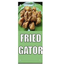 FRIED ALLIGATOR Food Fair Restaurant Cafe Market Double Sided Pole Banner Sign 30 in x 60 in
