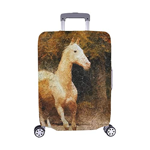 - Cremello Akhal Teke Horse Portrait Simulation Old Spandex Trolley Case Travel Luggage Protector Suitcase Cover 28.5 X 20.5 Inch