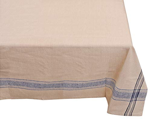 Yourtablecloth 100% Cotton Fabric Tablecloth - French Nautical Design Table Cloth -Hemmed Edges, Superior Quality & Durable - Blue Stripes, 52x52 Square ()