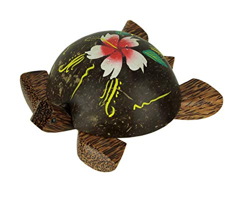 Carved Turtle Trinket Box with Hand Painted Coconut Shell Lid