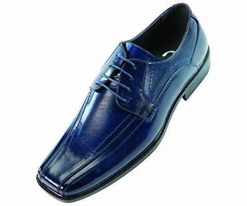 Sio Mens Classic Navy Blue Smooth Wide Width Oxford Dress Shoe: Style Mason-ww Navy Blue-002