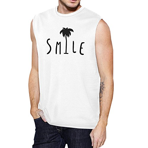 Sans 365 Palm Manche Unique Muscle Top Tree Printing Pull White Taille Smile Homme qrErg
