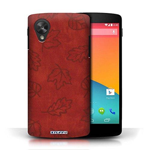 Etui pour LG Google Nexus 5/D821 / Rouge conception / Collection de Motif Feuille/Effet Textile