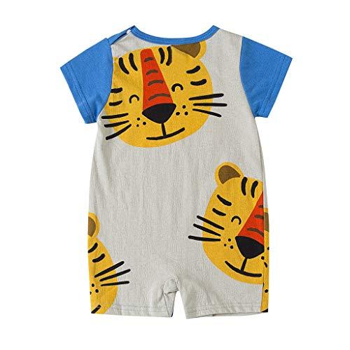 Luonita Newborn Infant Cartoon Animals Tiger Pattern Baby Boys Girls Short Sleeve T-Shirt Tops Blue