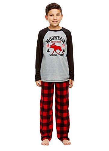 Boys 2 Piece Pajama Set   Long Sleeve Moose Print Top & Fleece Pants - ()