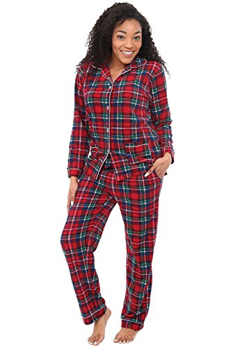 Alexander Del Rossa Womens Fleece Pajamas, Long Button Down