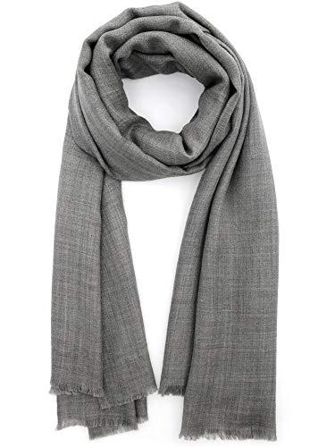 Cashmere Feel Wool Silk Blend Scarf Pashmina Women's Men's Shawl Grey Melange