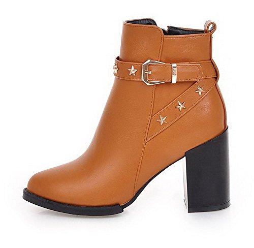 AgooLar Damen Rein Spitz Zehe PU Reißverschluss Stiefel mit Metall Schnalle, Silber, 34