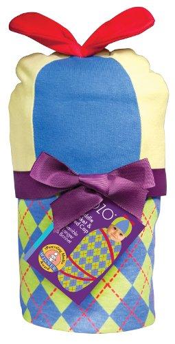 Sozo Baby-Boys Newborn Argyle Swaddle Blanket and Cap Set, Green/Blue, One Size