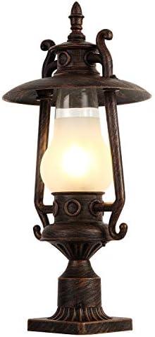 GZBtech Vintage Outdoor Post Lantern, 110V Waterproof Rust Bronze Pole Light Fixture of Rustic Kerosene Style, Metal Pillar Lantern with Frosted Glass Shade for Backyard Garden