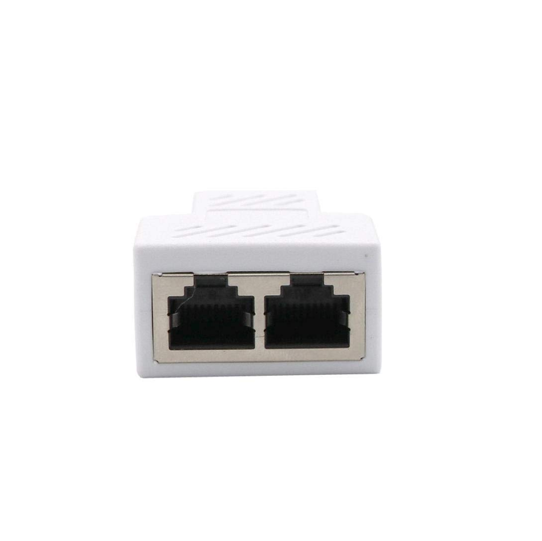 Cat5e RJ45 Splitter Connectors Adapter 1 to 2 Ethernet Splitter Coupler Double Socket HUB Interface Contact Modular Plug Connect Network Socket Adapter for Cat5 Cat6 White Cat7