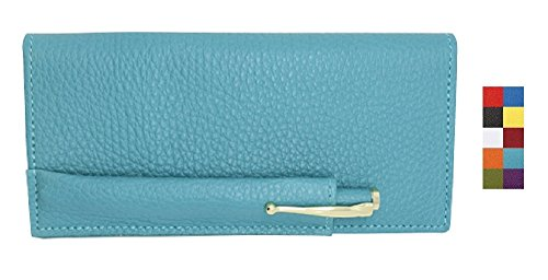 Teal Genuine Colorado Leather Collection Checkbook Cover with Matching Leather Hand-wrapped Pen – American Factory Direct – Made in USA by Real Leather Creations (Leather Wrapped Barrel)