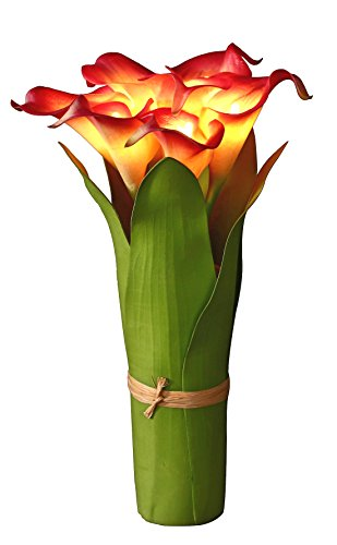 Homeseasons LED Lighted Artificial Flower Calla Lily Arrangement-Battery Operated 7 Heads Calla Lily Light with Green Leaves -