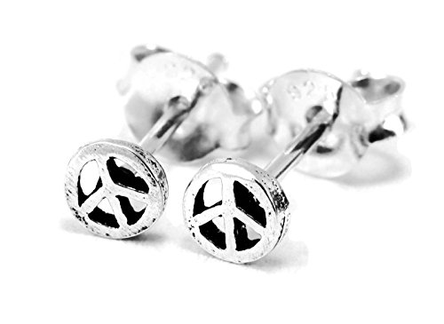 925 Sterling Silver Earring Cartilage For Women Ear Stud Helix Very Tiny Peace Sign 6g (4mm) Diamention - Fendi Sign