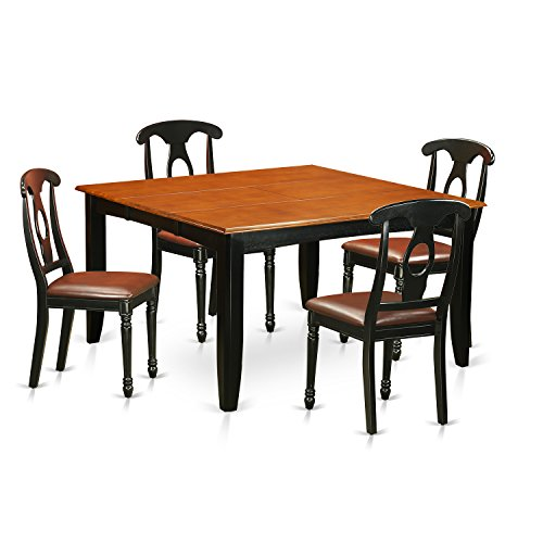 East West Furniture PFKE5-BCH-LC 5 Piece Dining Table and 4 Solid Wood Chairs Set