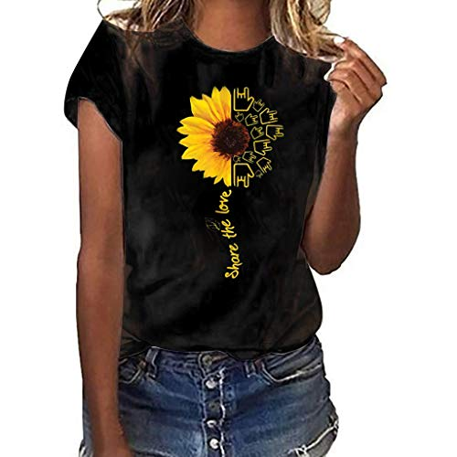 NCCIYAZ Womens T-Shirt Top Plus Size Many Stylish Sunflower Love Print Short Sleeve Summer Fashion Ladies Blouse(2XL(12),Black-Love Gesture)