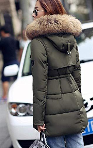 Winter Fashion Tinta Gr��n Fit Zip Warm Con Risvolto Chiusura Laterali Outwear Donna Piumino Lunga Slim Saoye Capispalla Unita Cappuccio Tasche Manica w6dqI6