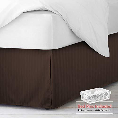 Nestl Bedding Pleated Bed Skirt - Damask Dobby Stripe Bed Skirt - Luxury Microfiber Dust Ruffle - 14