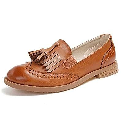 LALA IKAI Cuero Zapatos Plano con Fleco Oxford para Mujer Marrón (EU 37, Marrón ligero)