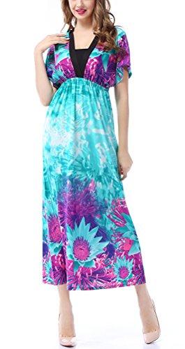 SMITHROAD Damen Elegant Langes BOHO Strandkleid V Ausschnitt mit Blumen Druck Kurzarm Stretch Kleid Tailliert Übergroße Blau
