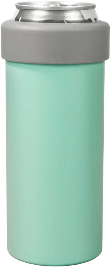 Slimistic, 12 Oz Slim Can Stainless Steel Double Walled Insulated Can Cooler, Thermal Cup for Drinks and Skinny Cans UPDATED DESIGN (Teal)