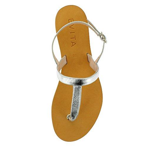 Evita Shoes Greta Damen Sandale Glattleder Silber