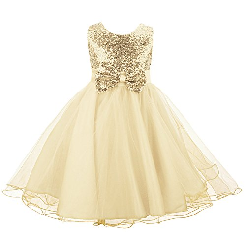 Acecharming Little Girls' Sequin Flower Tulle Tutu Dress, Sleeveless Bowknot Wedding Party Ball Gown(Updated Version), Golden, 5-6 Years