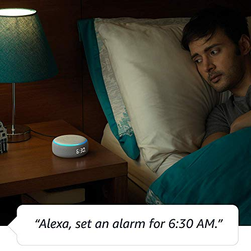 Echo Dot (3rd Gen) with clock – New and improved smart speaker with Alexa and LED display (White)