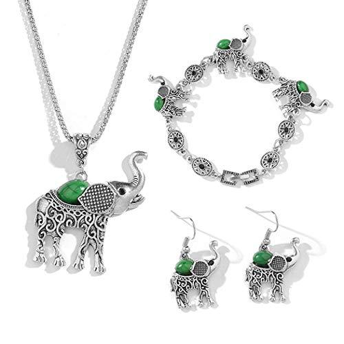 Fanala Women Fashion Alloy Drop Earrings Pendant Necklace Bracelet Jewelry Set Jewelry Sets