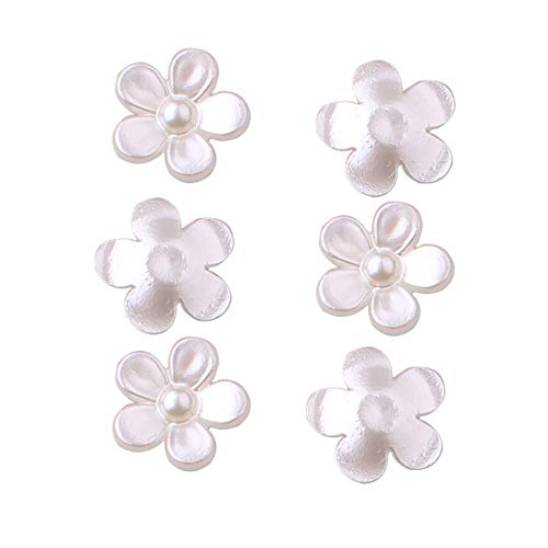 ZIJING Acrylic Faux Pearl Flower Flat Back Gemstone Resin Rhinestones Beads Embellishments for Arts Crats Scrapbooking (Ivory -