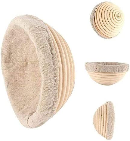 ABeauty 3 Pack 5 Inch Bread Proofing Baskets Small Banneton Brotform for Bread and 225g Dough Natural Rattan Sourdough Proving Basket
